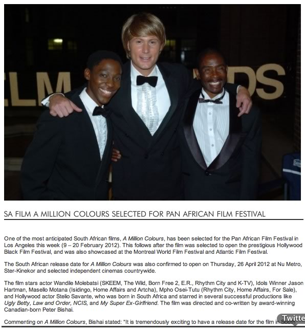 SA Film A Million Colours selected for Pan African Film Festival